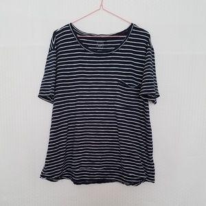 Gap Navy/White Striped Hi Lo Tshirt Blouse